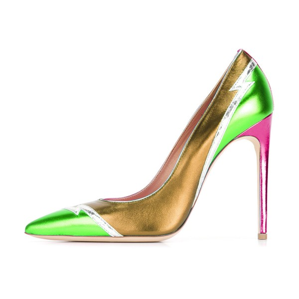 Multi-color Stiletto Heels Mirror Leather Pointy Toe Pumps image 2