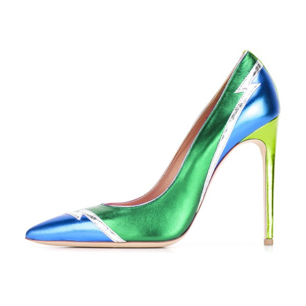 FSJ Green and Blue Stiletto Heels Pointy Toe Multicolor Pumps image 2