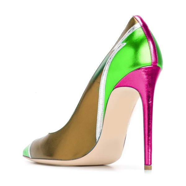 Multi-color Stiletto Heels Mirror Leather Pointy Toe Pumps image 3