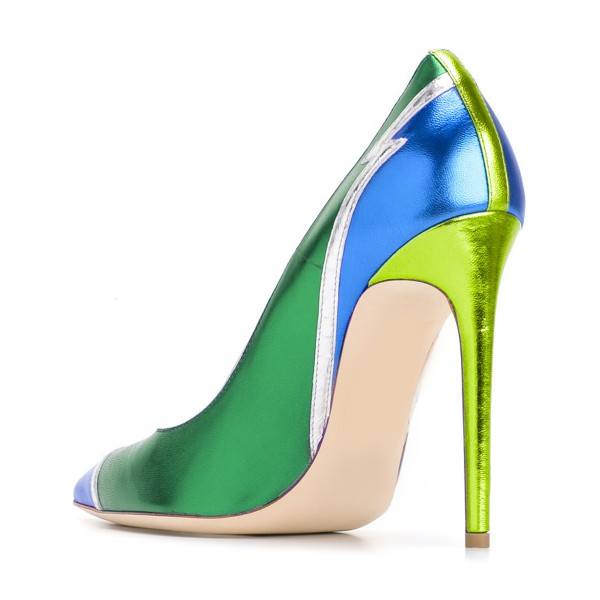 FSJ Green and Blue Stiletto Heels Pointy Toe Multicolor Pumps image 3