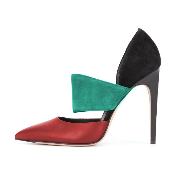 Multi-color Stiletto Heels Cutout Pointy Toe Suede Pumps for Ladies image 2