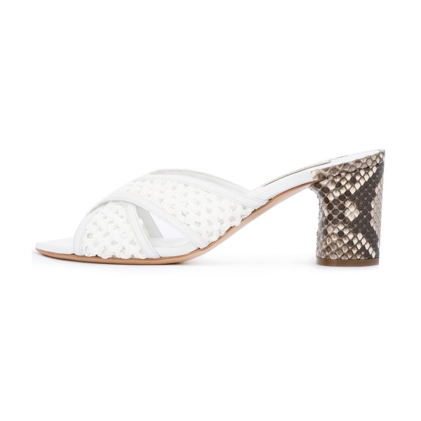 White Block Heel Sandals Python Knit Open Toe Mules image 2