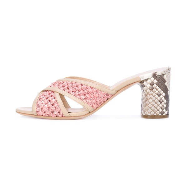 Pink Block Heel Sandals Python Knit Open Toe Mules image 2
