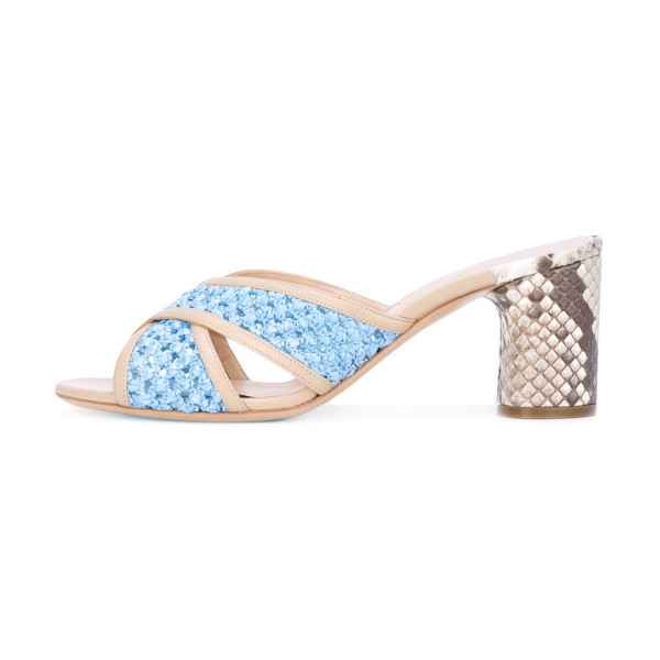 Light Blue Block Heel Sandals Python Knit Open Toe Mules image 2