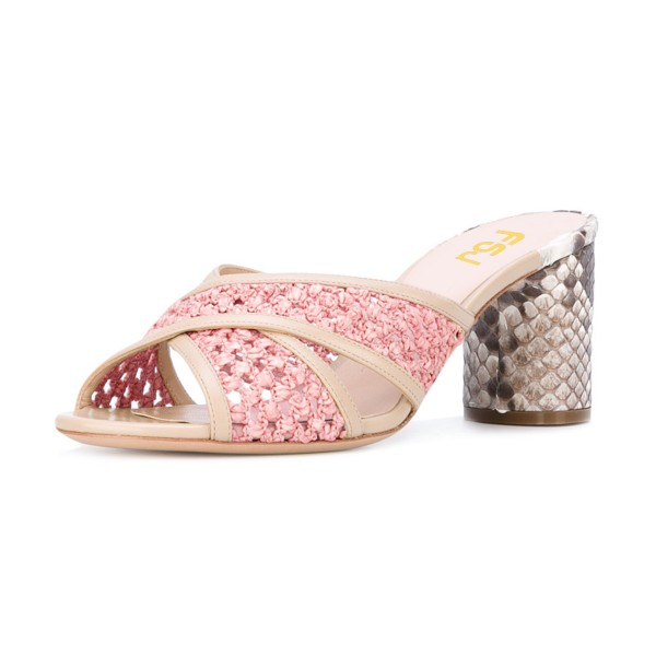 Pink Block Heel Sandals Python Knit Open Toe Mules image 1