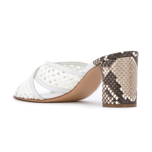 White Block Heel Sandals Python Knit Open Toe Mules image 3