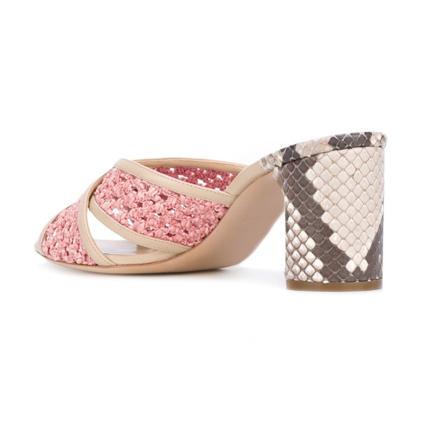 Pink Block Heel Sandals Python Knit Open Toe Mules image 3