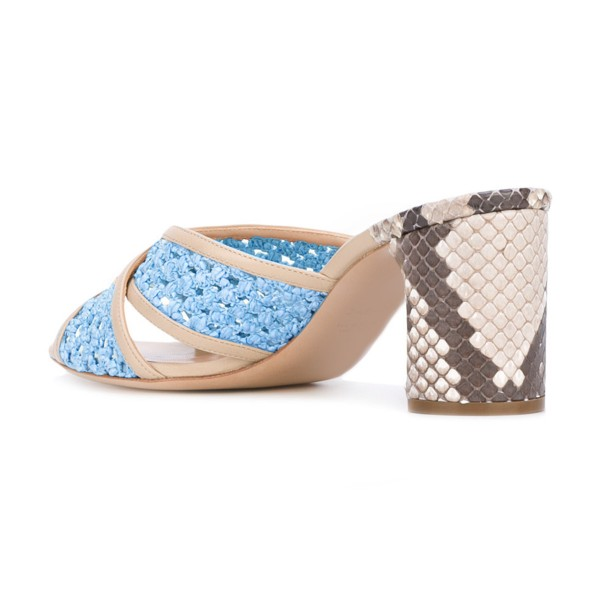 Light Blue Block Heel Sandals Python Knit Open Toe Mules image 3