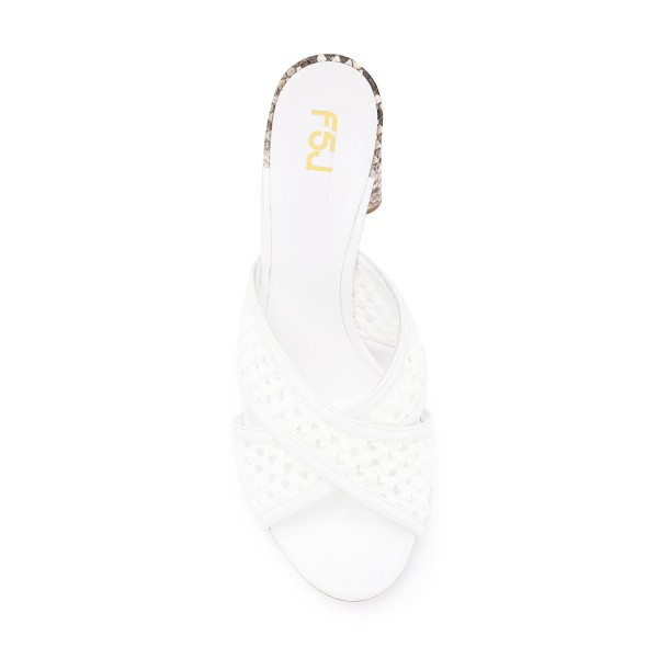 White Block Heel Sandals Python Knit Open Toe Mules image 4