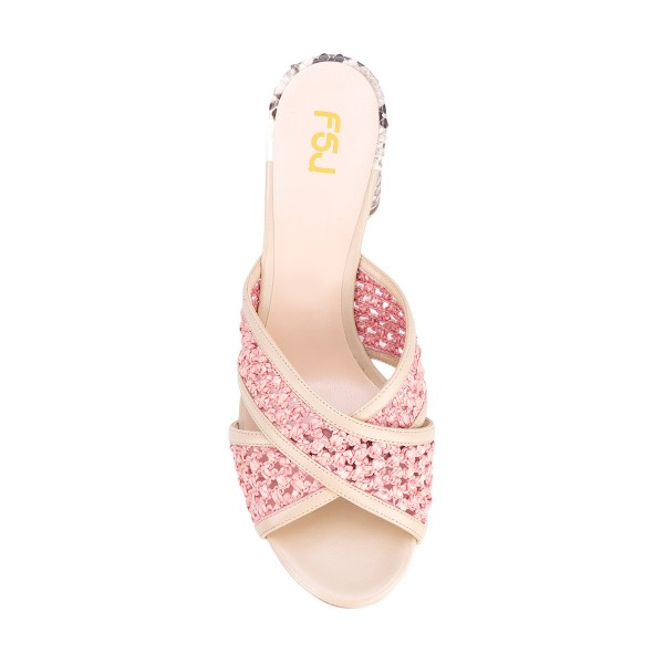 Pink Block Heel Sandals Python Knit Open Toe Mules image 4