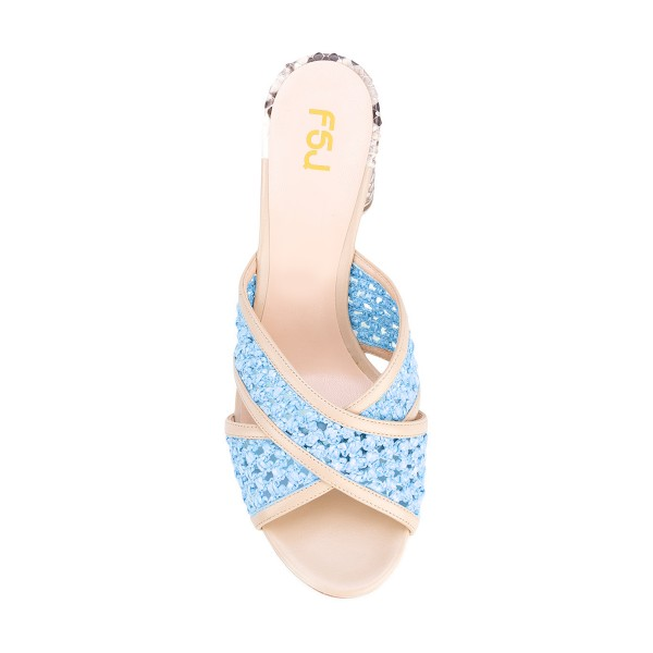 Light Blue Block Heel Sandals Python Knit Open Toe Mules image 4