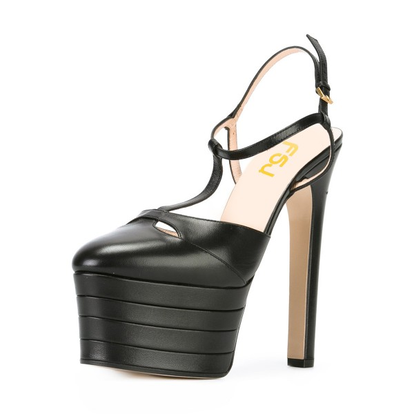 Black Platform Sandals T Strap Closed Toe Chunky Heels image 1