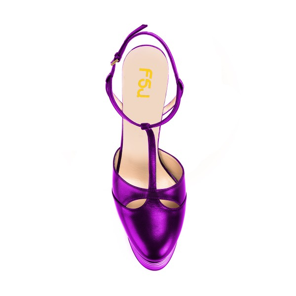 Purple Platform Sandals T Strap Closed Toe Chunky Heels image 4