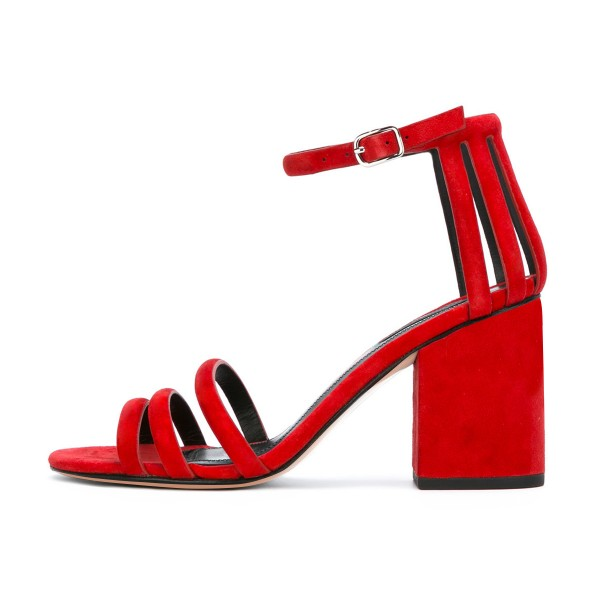 Women's Red Chunky Heel Ankle Strap Sandals image 2