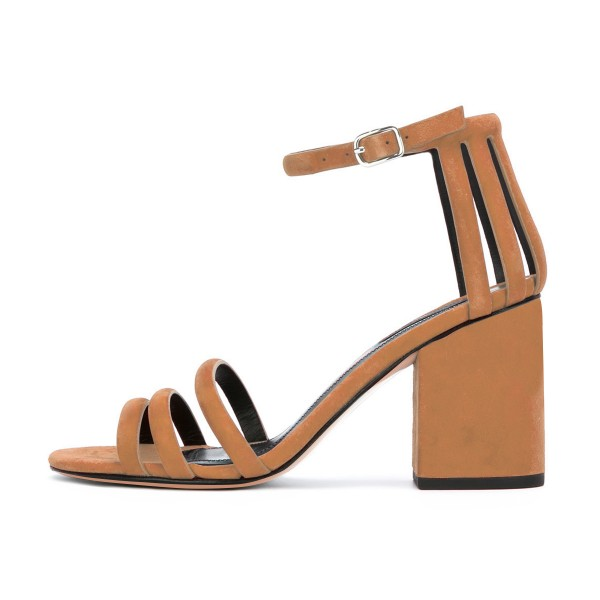 Women's Brown Chunky Heel Ankle Strap Sandals image 2