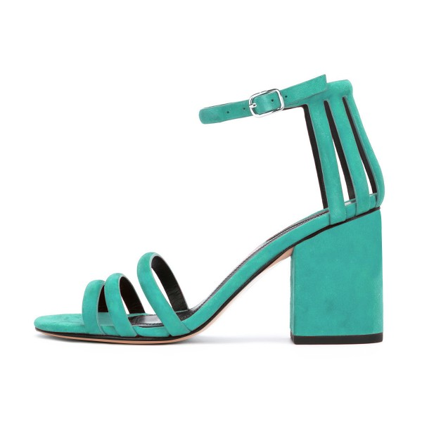 Women's Turquoise Chunky Heels Ankle Strap Sandals Comfortable Shoes image 2