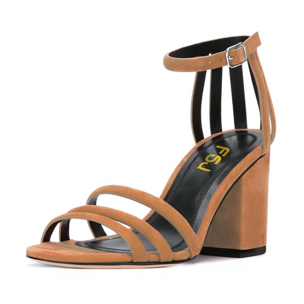 Women's Brown Chunky Heel Ankle Strap Sandals image 1
