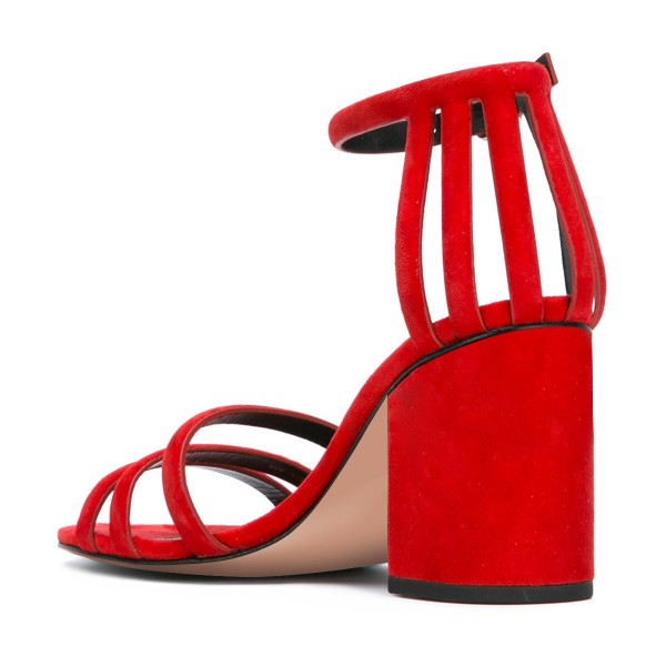 Women's Red Chunky Heel Ankle Strap Sandals image 3