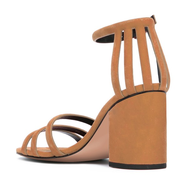 Women's Brown Chunky Heel Ankle Strap Sandals image 3