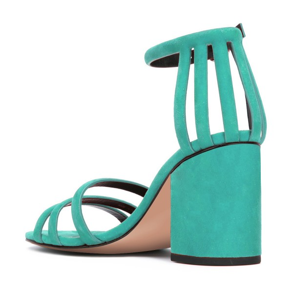Women's Turquoise Chunky Heels Ankle Strap Sandals Comfortable Shoes image 3