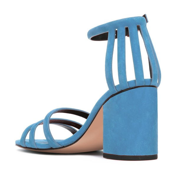 Women's Blue Chunky Heel Ankle Strap Sandals image 3
