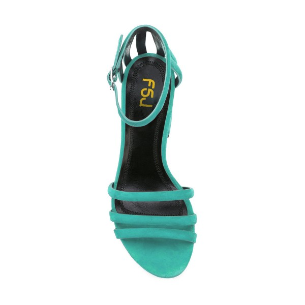Women's Turquoise Chunky Heels Ankle Strap Sandals Comfortable Shoes image 4