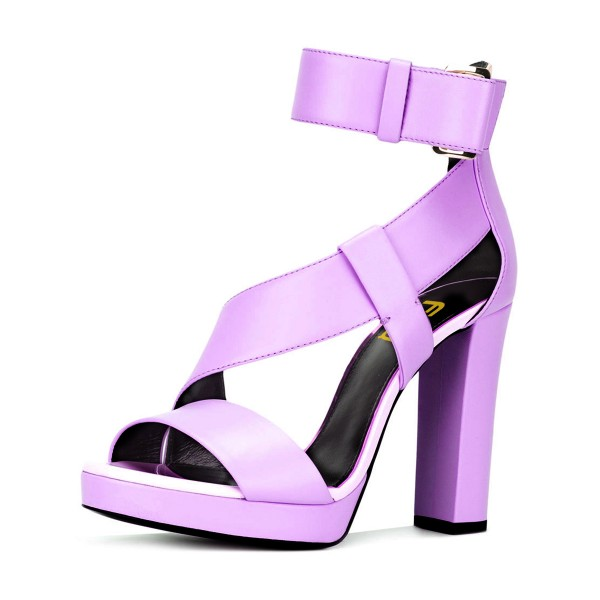 Light Purple Block Heels Sandals Ankle Strap High Heels for ...
