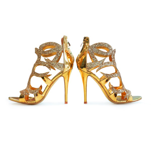 Gold Evening Shoes Cage Sandals 5 Inches Stiletto Heels Glitter Shoes image 2