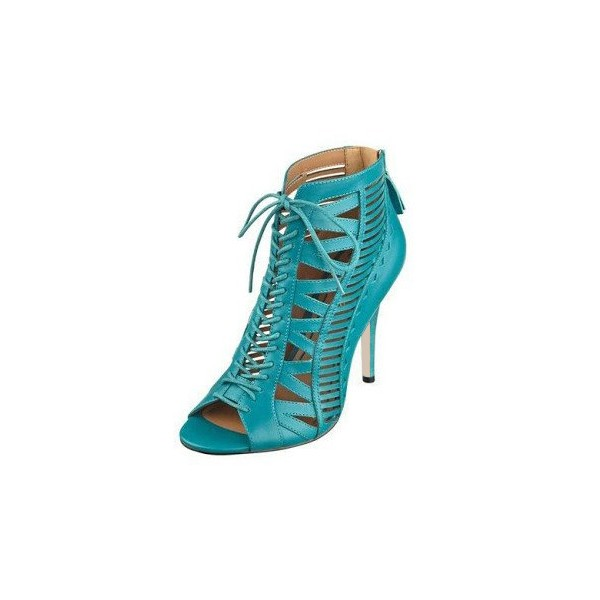 Teal Shoes Lace up Peep Toe Stiletto Heel Summer Booties image 1