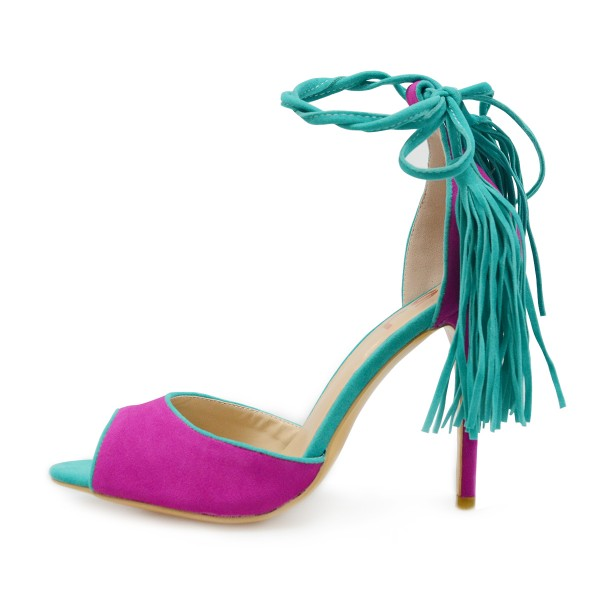 Women's Magenta and Green Stiletto Heels Suede Lace Up Strappy Heels Pumps image 6