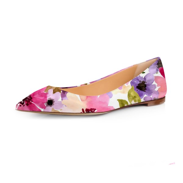 Women's Colorful Floral Pointed Toe Comfortable Flats image 1