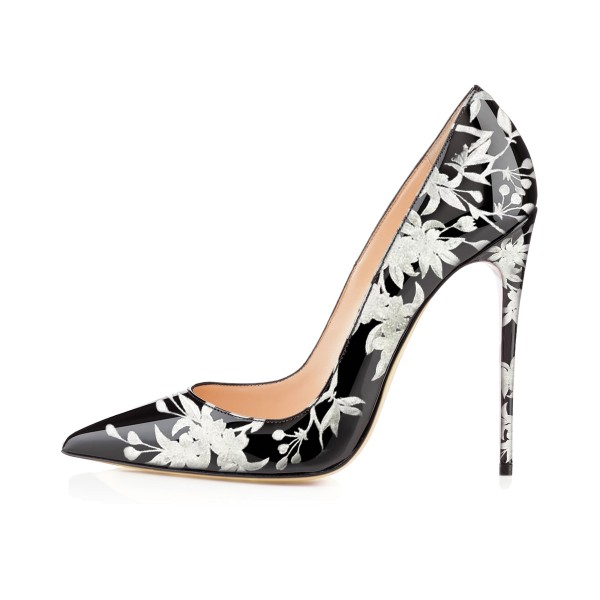 Women's Black Floral Heels Pencil Heel Pumps image 2