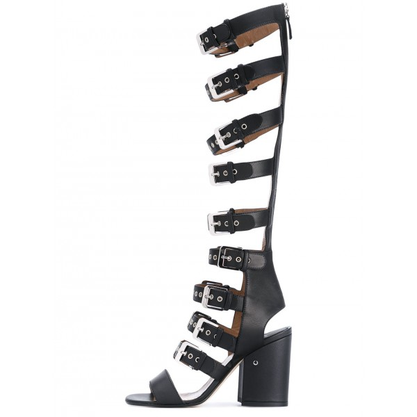 5541d17bd7a Black Buckles Slingback Hollow-out Chunky Heel Gladiator Heels Sandals  image 1 ...