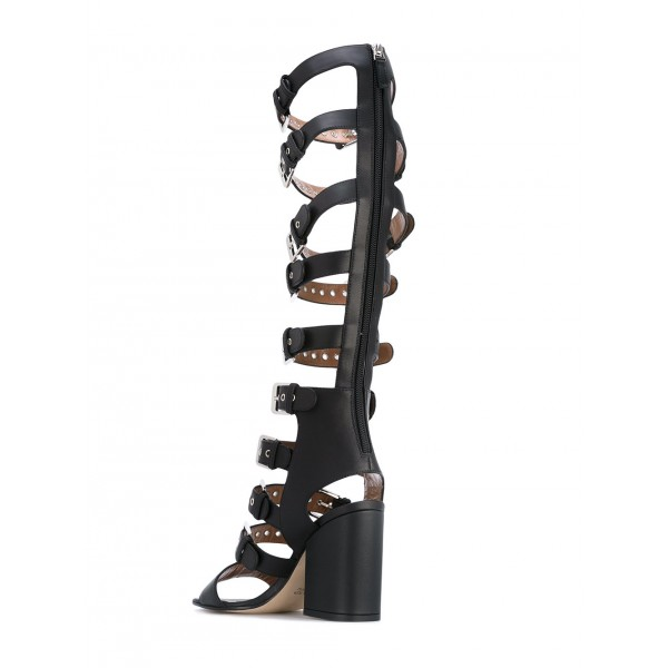Black Buckles Slingback Hollow-out Chunky Heel Gladiator Heels Sandals image 2