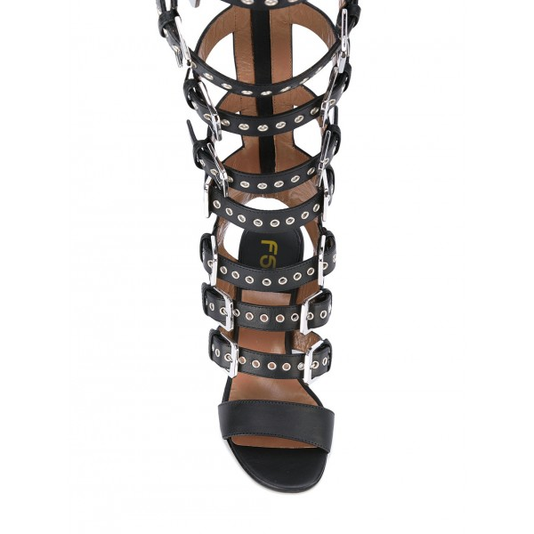 Black Buckles Slingback Hollow-out Chunky Heel Gladiator Heels Sandals image 3