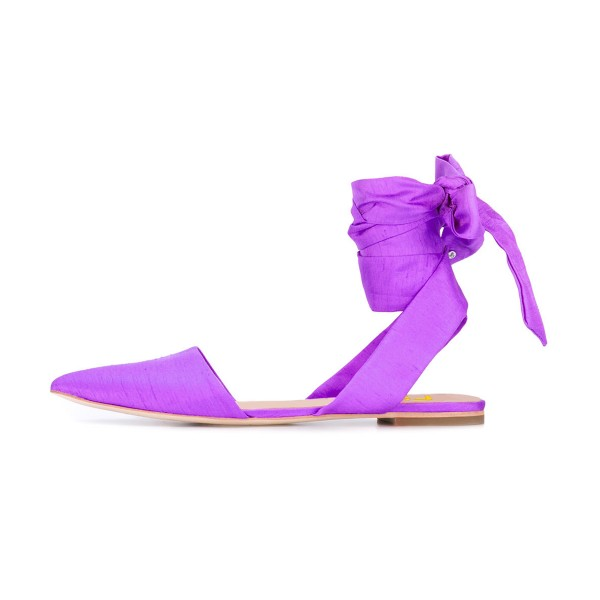 Women's Violet Pointed Toe Flats Ankle Strap Sandals image 2