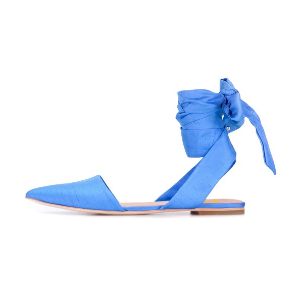 Women's Light Blue Pointed Toe Ankle Strap Flats Sandals image 2