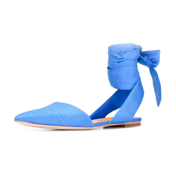 Women's Light Blue Pointed Toe Ankle Strap Flats Sandals image 1