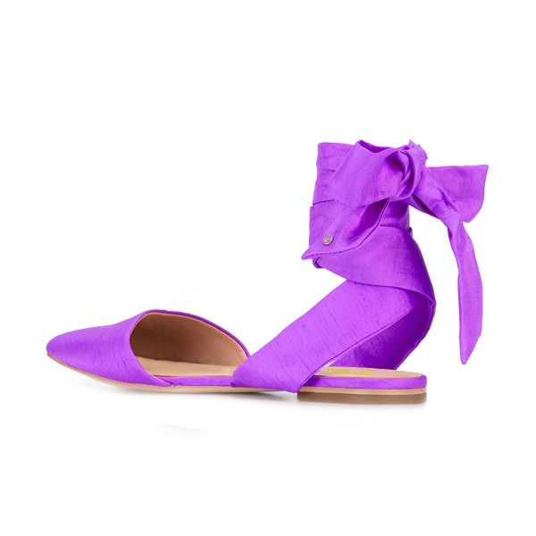 Women's Violet Pointed Toe Flats Ankle Strap Sandals image 3