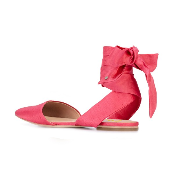 FSJ Watermelon Red Strappy Comfy Pointy Toe Flats US Size 3-15 image 4