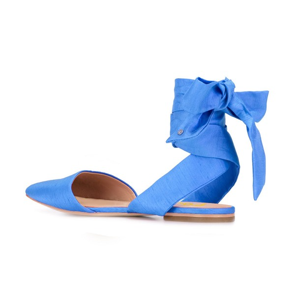 Women's Light Blue Pointed Toe Ankle Strap Flats Sandals image 3