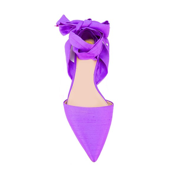 Women's Violet Pointed Toe Flats Ankle Strap Sandals image 4