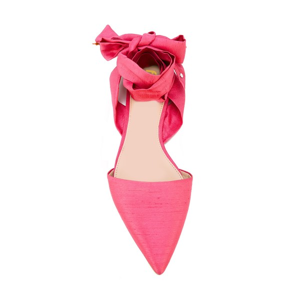 FSJ Watermelon Red Strappy Comfy Pointy Toe Flats US Size 3-15 image 3