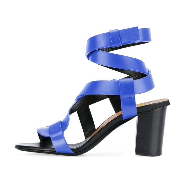 FSJ Blue Strappy Sandals Open Toe Block Heel Vegan Shoes US Size 3-15 image 2
