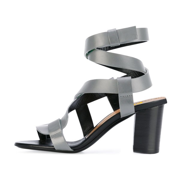Grey Strappy Sandals Toe-knob Block Heels image 2