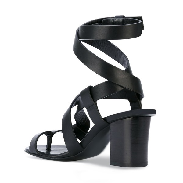 Black Strappy Sandals Toe-knob Block Heels  image 3