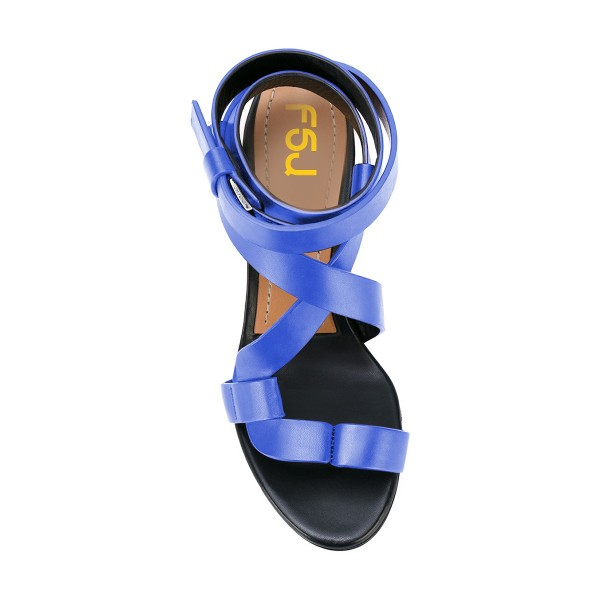 FSJ Blue Strappy Sandals Open Toe Block Heel Vegan Shoes US Size 3-15 image 4