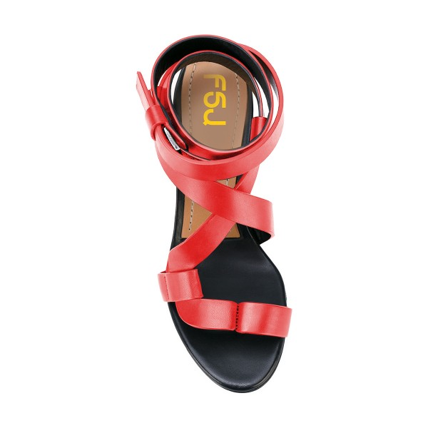 Red Strappy Sandals Toe-knob Block Heels image 3