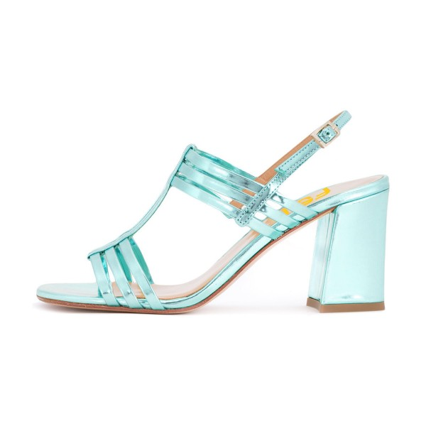 Women's Turquoise Caged Slingback Block Heel Sandals image 2