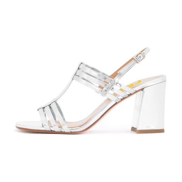 Women's White Caged Slingback Block Heel Sandals image 2